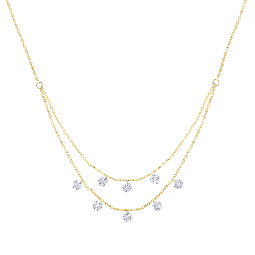 Miss Diamond Ring Eight Diamonds Double Chain Pendant Necklace
