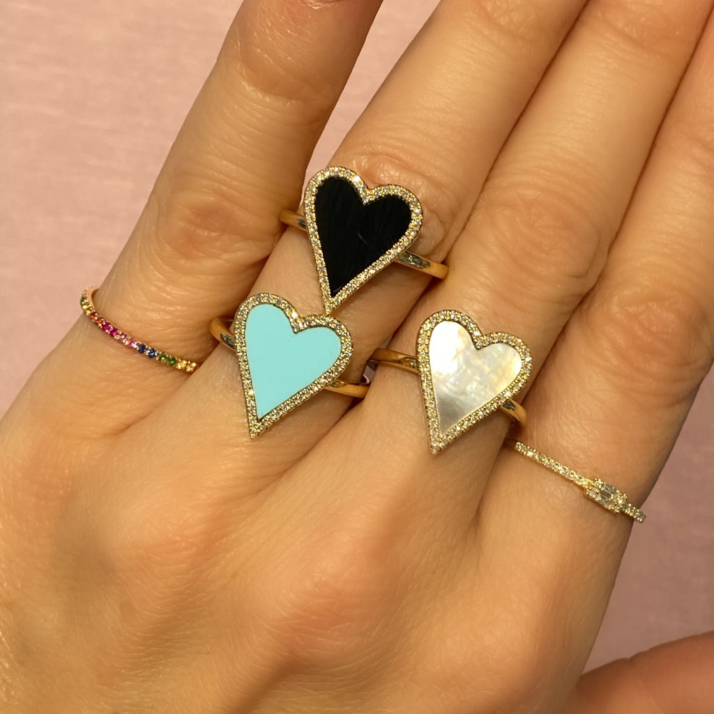 Enamel Heart Ring with Pave Diamond