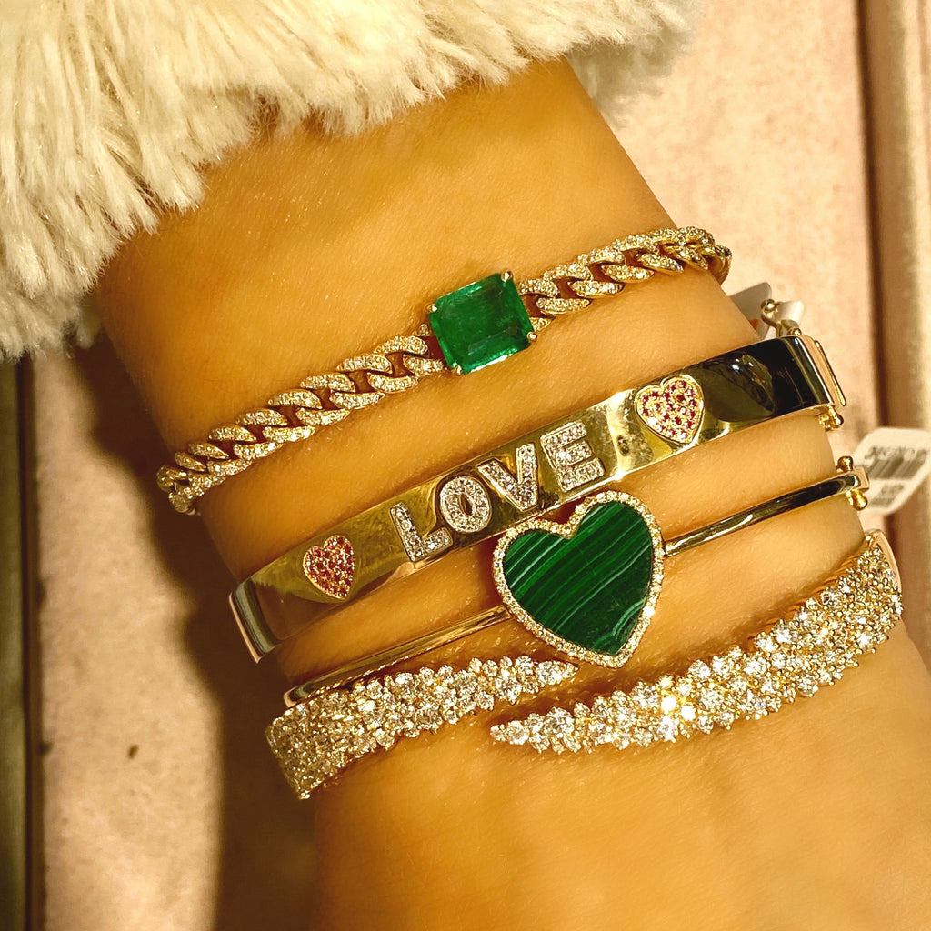 Malachite Heart Bangle Bracelet