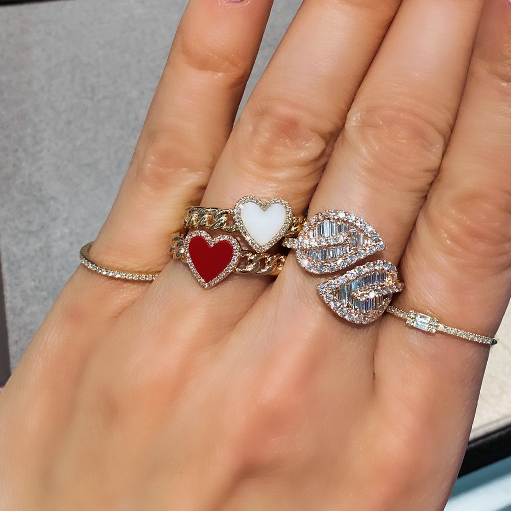 Coral Heart Pave Diamond Chain Link Ring