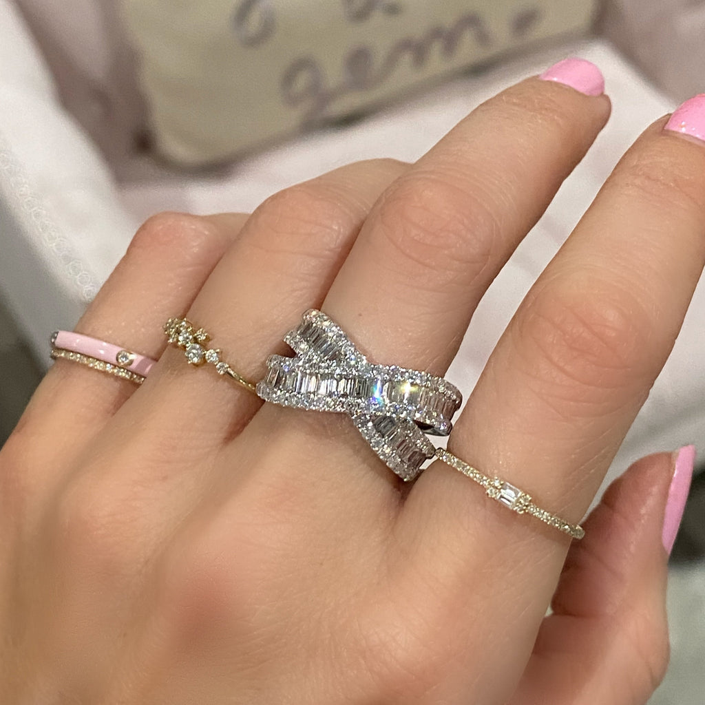 Baguette Crossover Ring