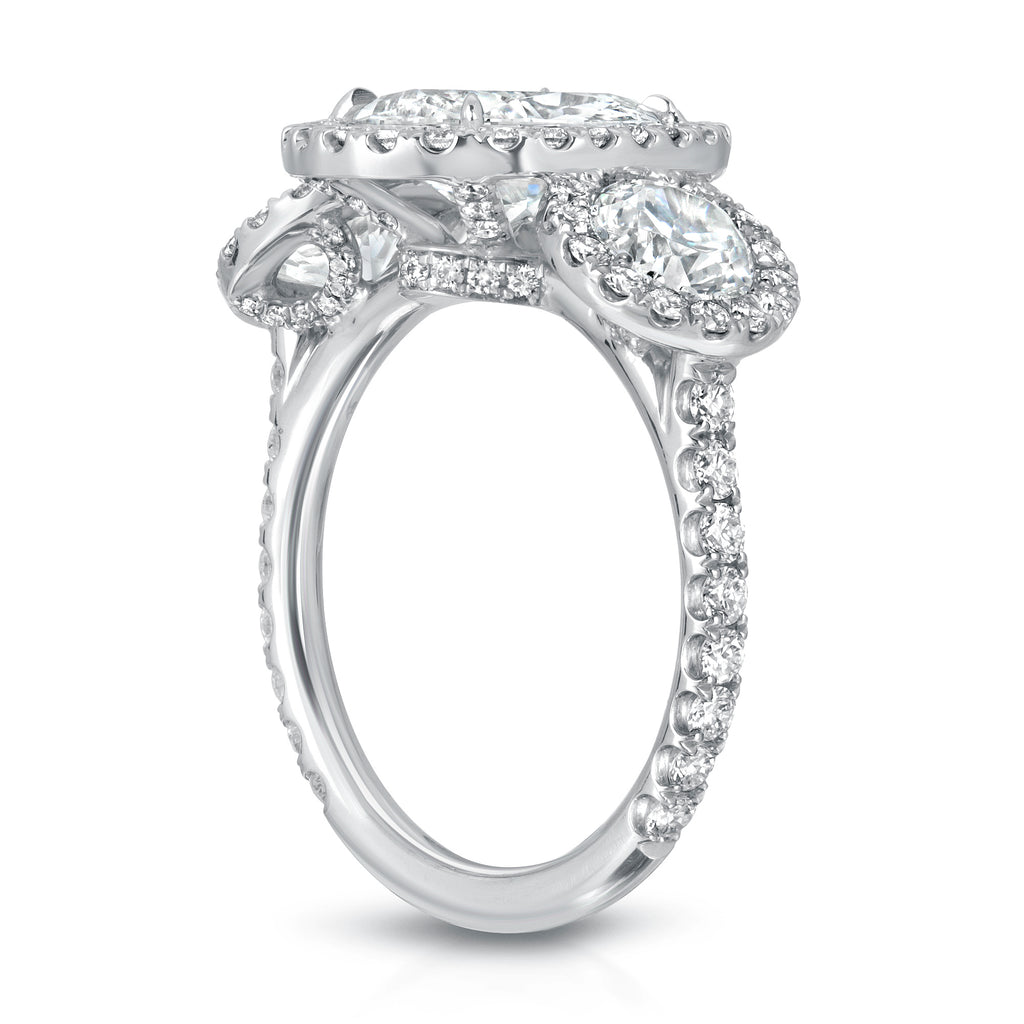 Three Stone Oval Cut Pave Diamond Engagement Ring