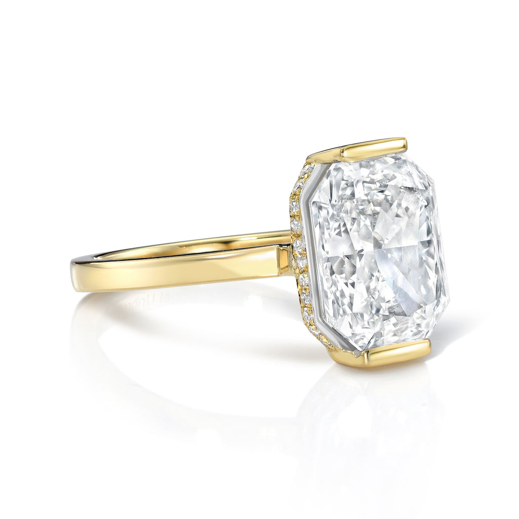 'Two Become One' Radiant Cut Diamond Engagement Ring with Attachable/Slide Trapezoid Sides