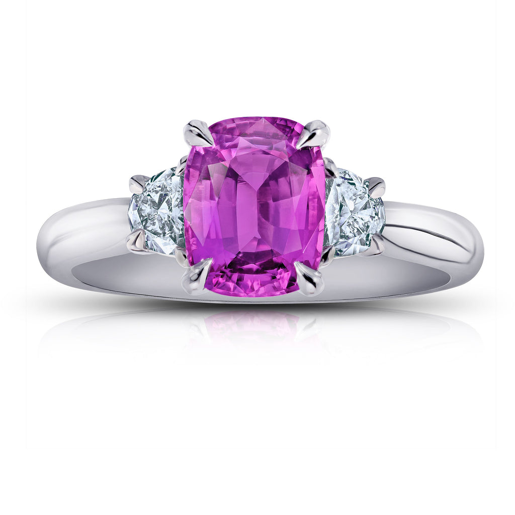 2.2 ct Three Stone Pink Cushion Sapphire Ring