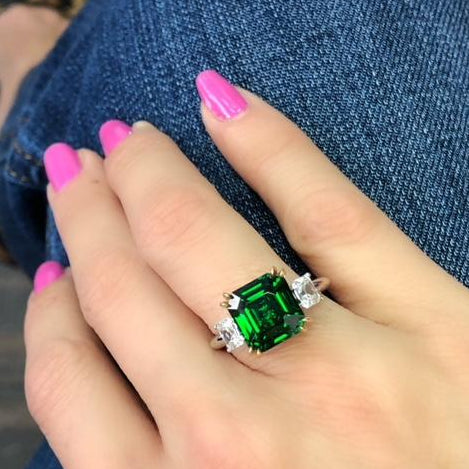 5 ct Three Stone Green Tsavorite Ring with Antique Square, Round Diamonds