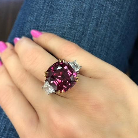 Miss Diamond Ring three stone red spinel with trapezoid diamonds