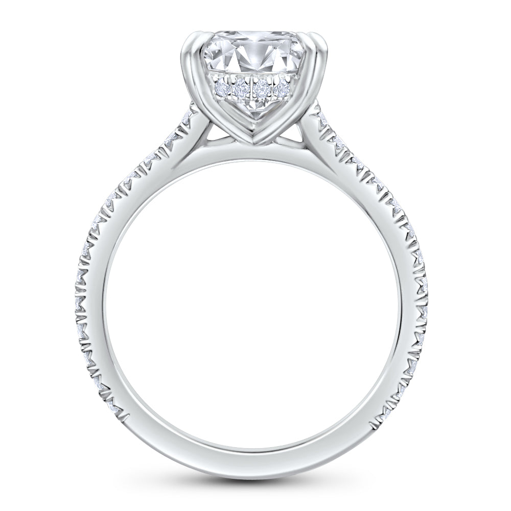 Pear Brilliant Cut Diamond Pave Engagement Ring