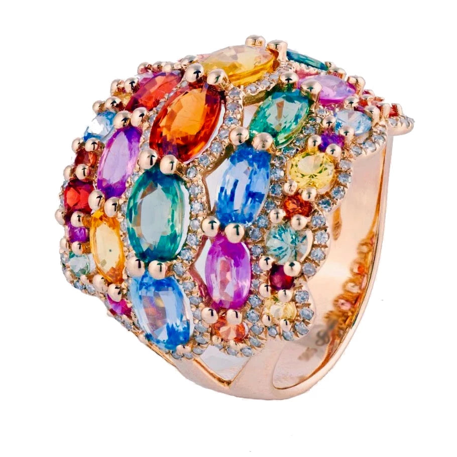 Miss Diamond Ring multi color rainbow oval gem ring
