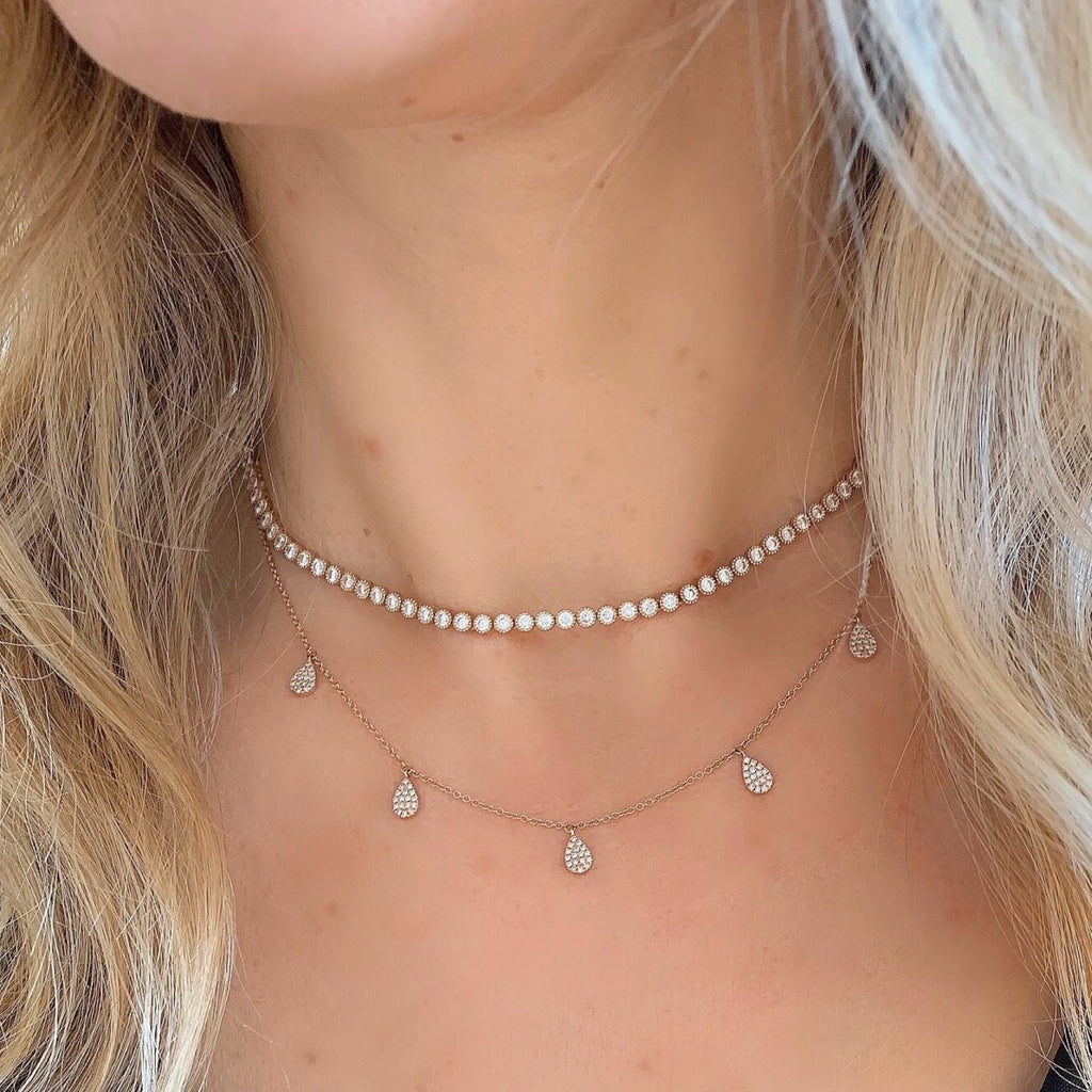 Pave Diamond 5 Drop Necklace