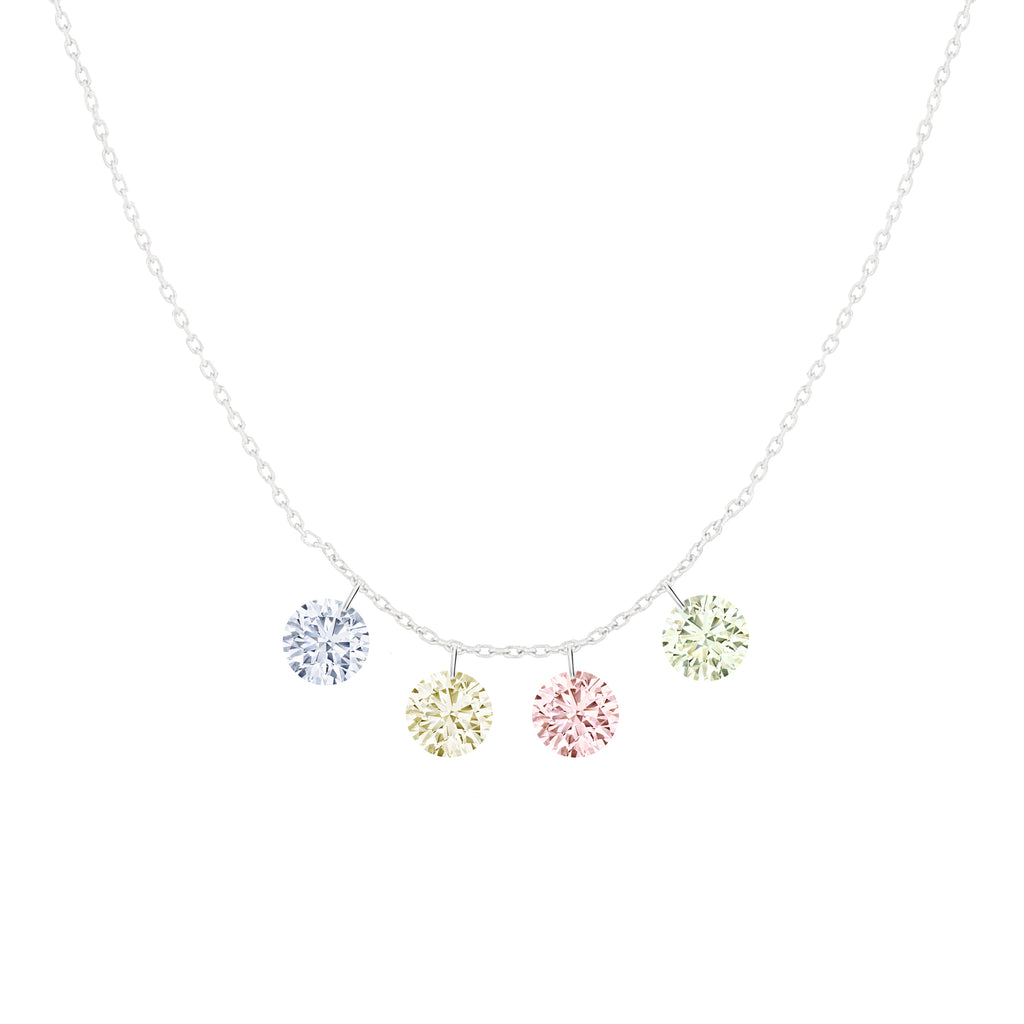 Miss Diamond Ring fancy colored drop diamonds necklace