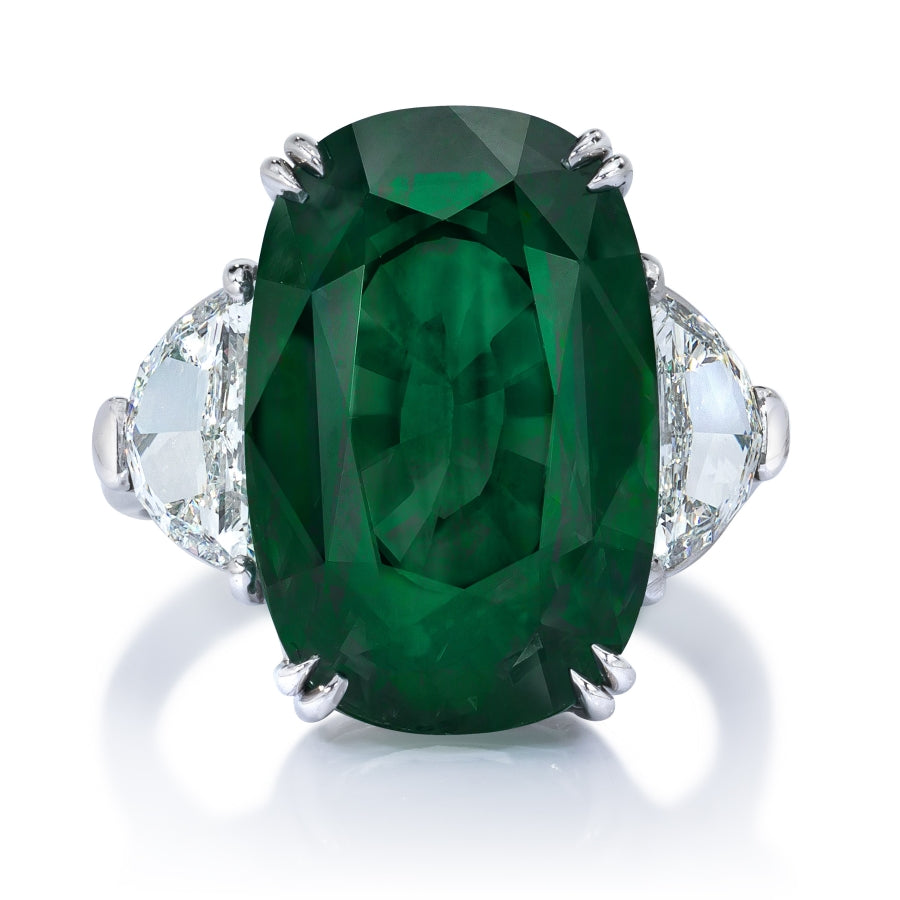 Miss Diamond Ring Zambia emerald cushion three stone trapezoid rings