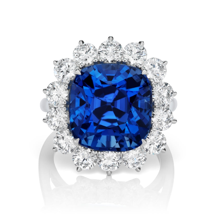 Miss Diamond Ring Sri Lanka blue sapphire ring no heat with round brilliant diamonds