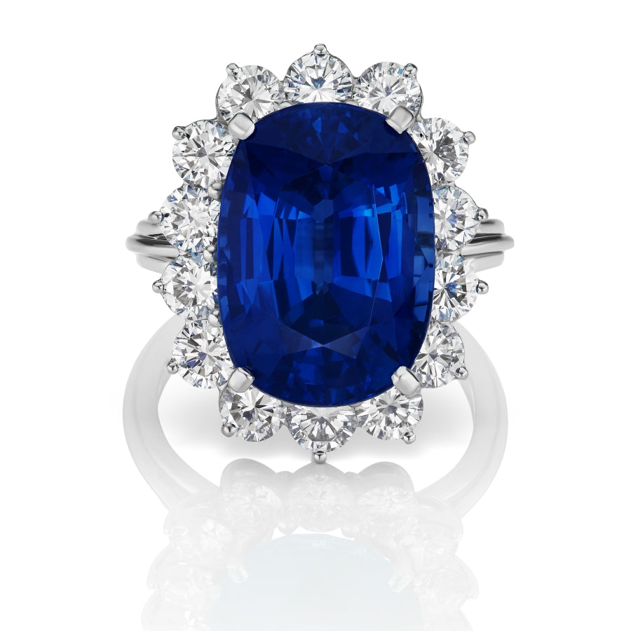 Miss Diamond Ring cushion sapphire ring with round brilliant diamonds