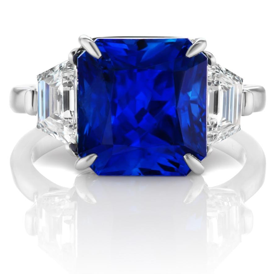 7.6 ct Three Stone Sri Lanka Sapphire Ring