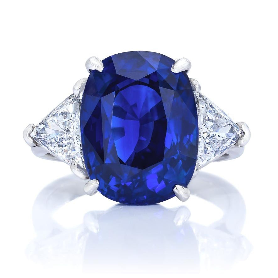 9 ct Three Stone Sri Lanka Sapphire Ring
