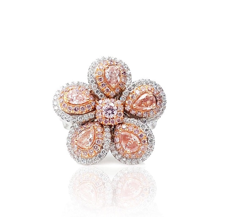 Miss Diamond Ring Flower Pink Diamond Jewelry