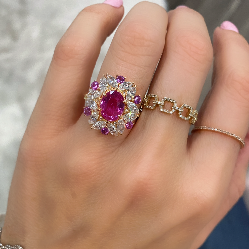 Floral Lace Pink Sapphire Diamond Ring