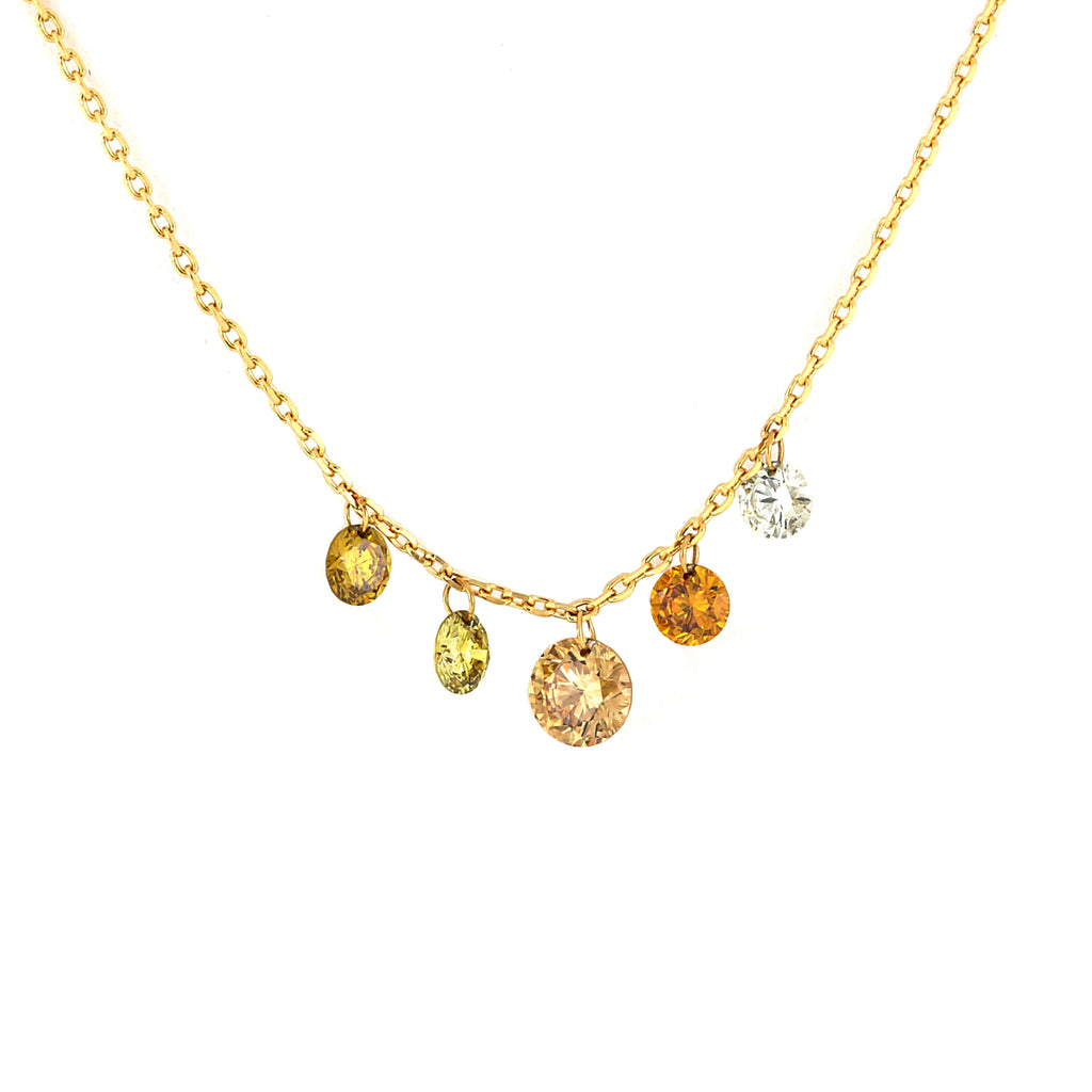 Miss Diamond Ring fancy colored pendant diamonds necklace sunshine