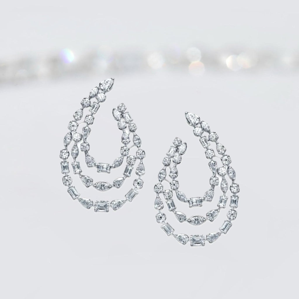 Mixed Cut Diamond Hoops