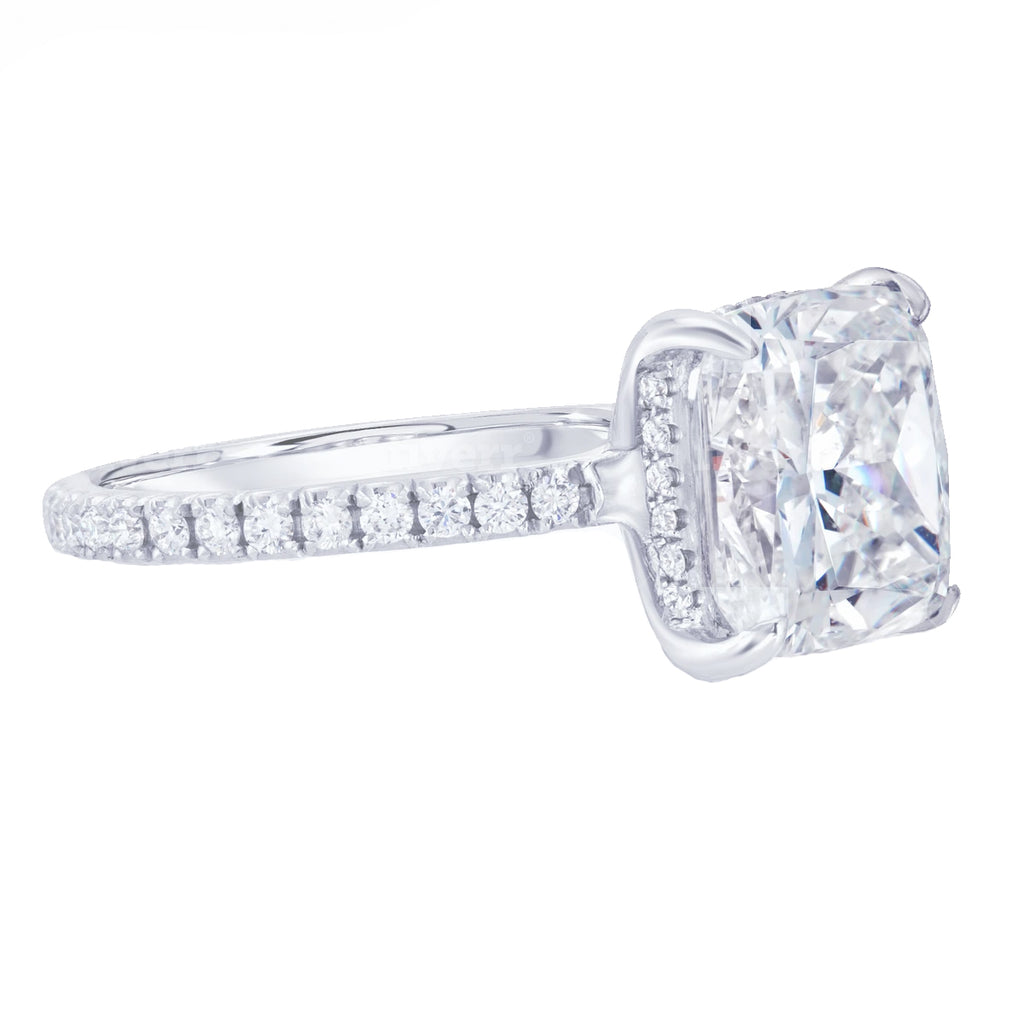 Cushion Cut Pave Diamond Engagement Ring