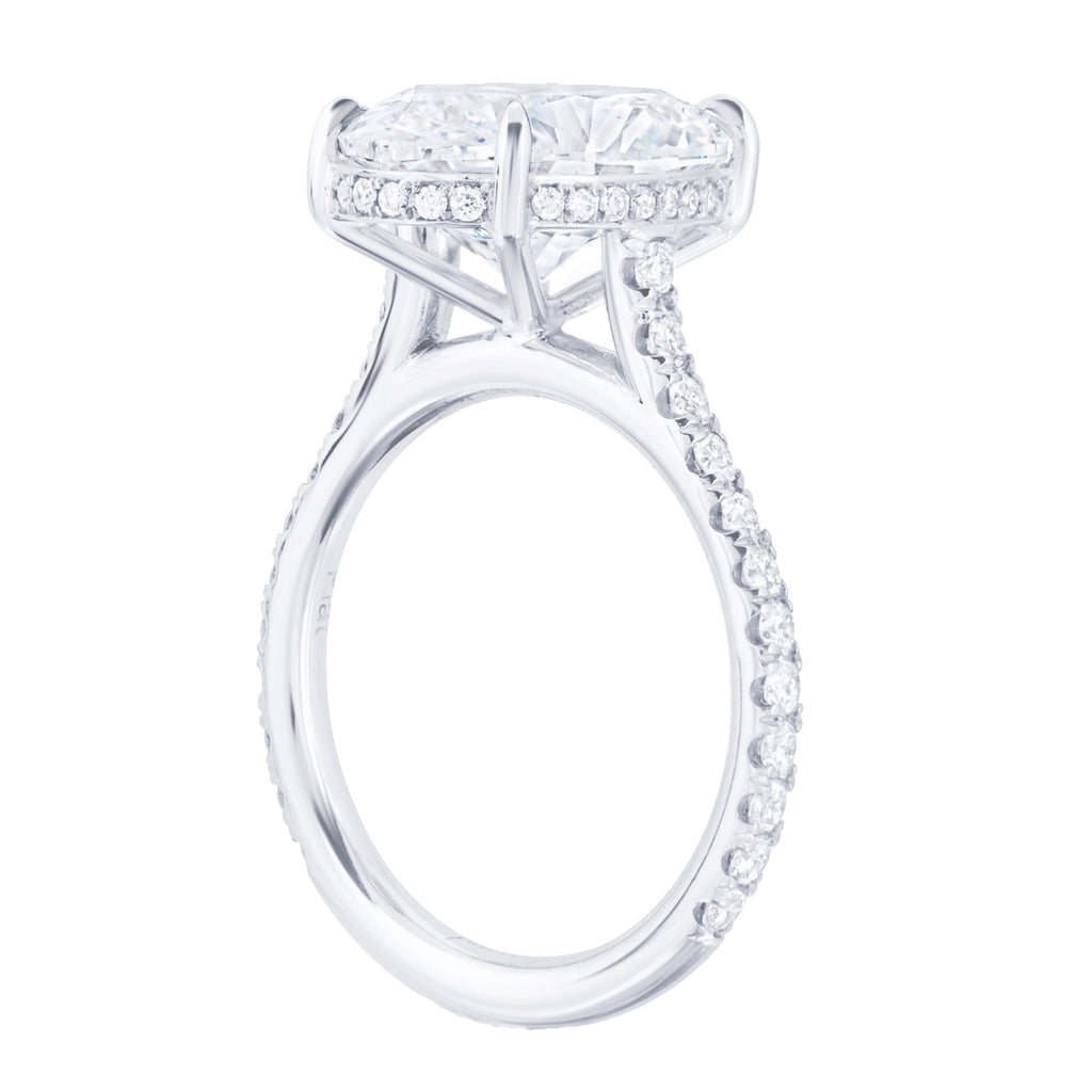 Brilliant Oval Cut Pave Diamond Engagement Ring