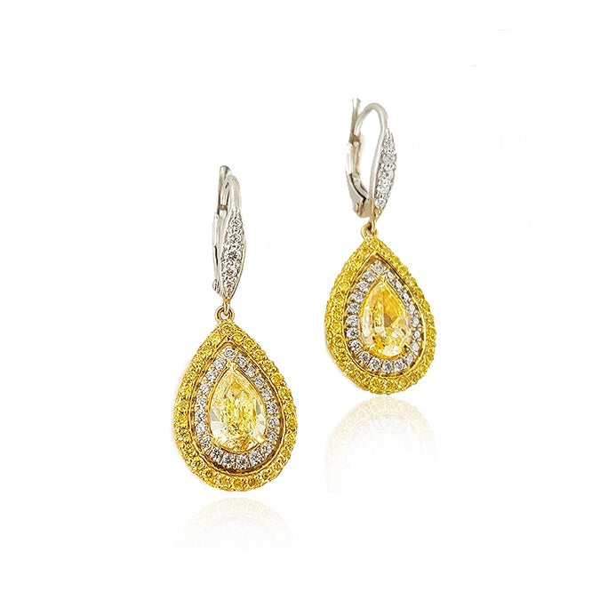 Miss Diamond Ring Double Halo Pear chandelier earrings