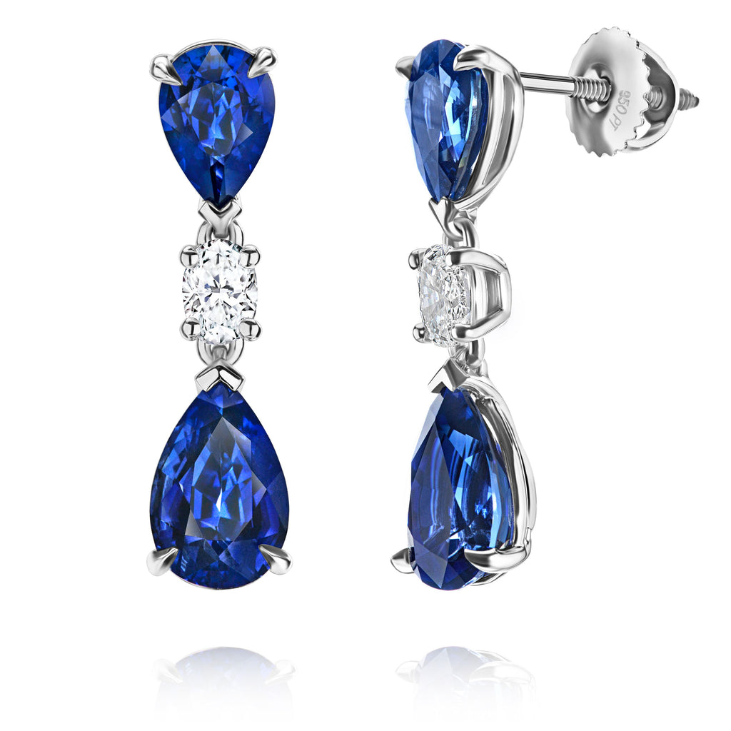 7 ct Blue Sapphire Earrings with Oval Diamonds
