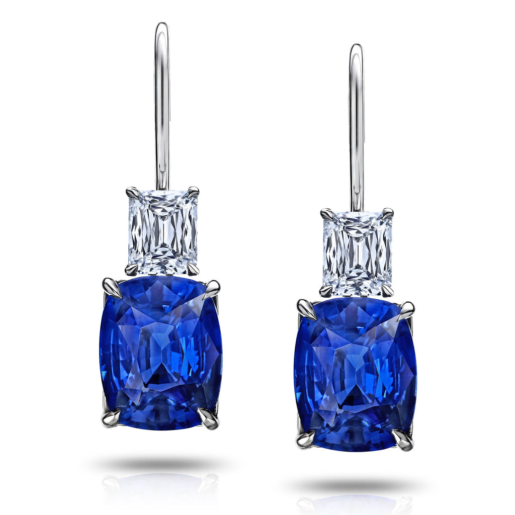 6.8 cts Cushion Blue Sapphire and Diamond Earrings