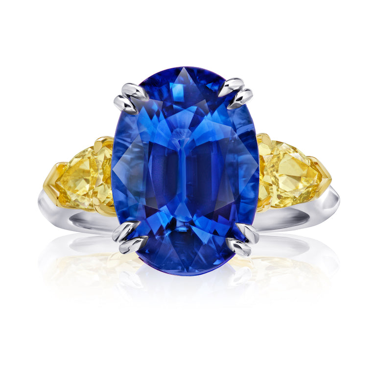 9 ct Three Stone Oval Blue Sapphire Ring with Yellow Diamonds
