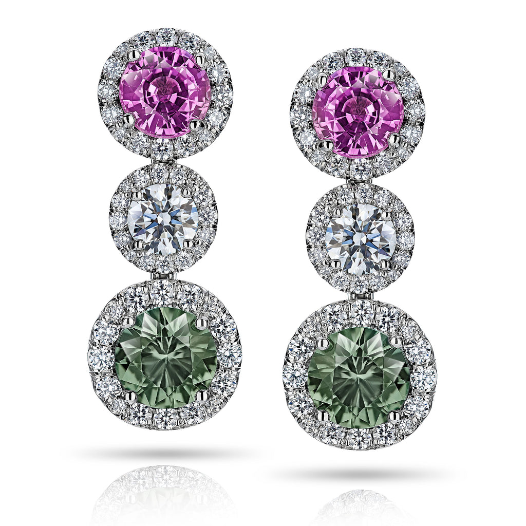 Miss Diamond Ring pink and green sapphires with white diamond drop statement earring