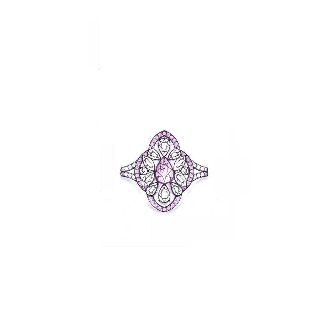 Miss Diamond Ring flower pear pink and white diamond