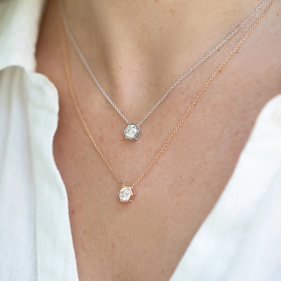 Miss Diamond Ring layered pendant necklaces