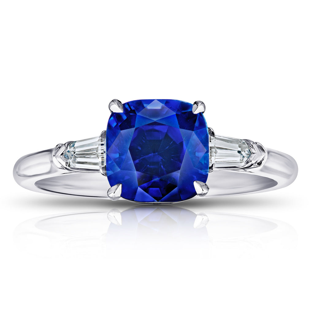 3.65 ct Three Stone Blue Sapphire Ring with Bullet Diamonds
