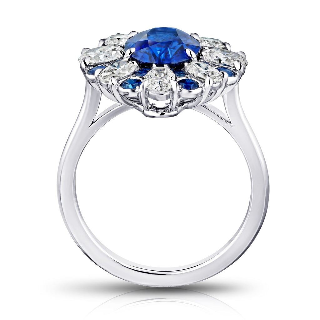 3 ct Halo Oval Blue Sapphire Ring with Oval, Round Diamonds