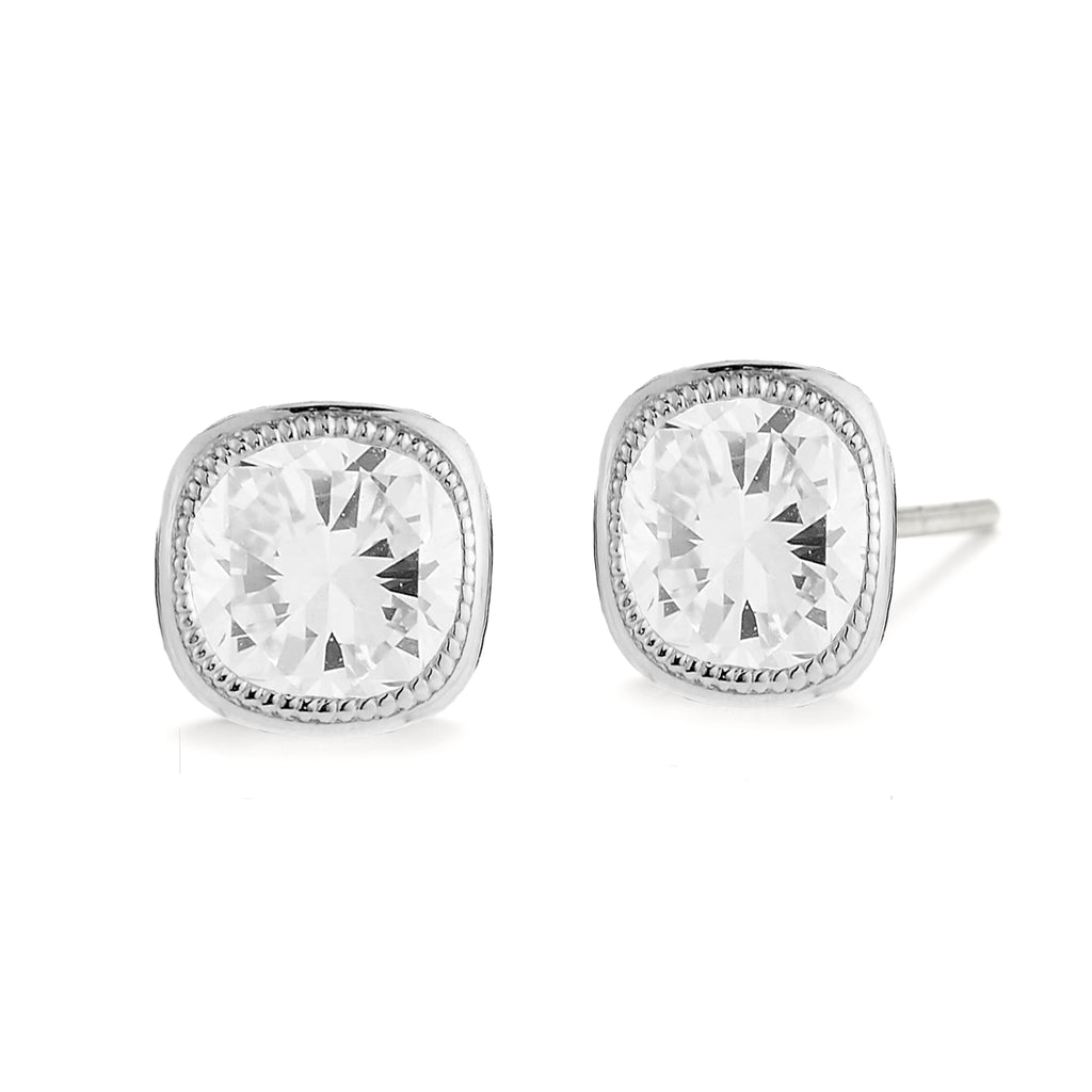 Miss Diamond Ring cushion stud earrings