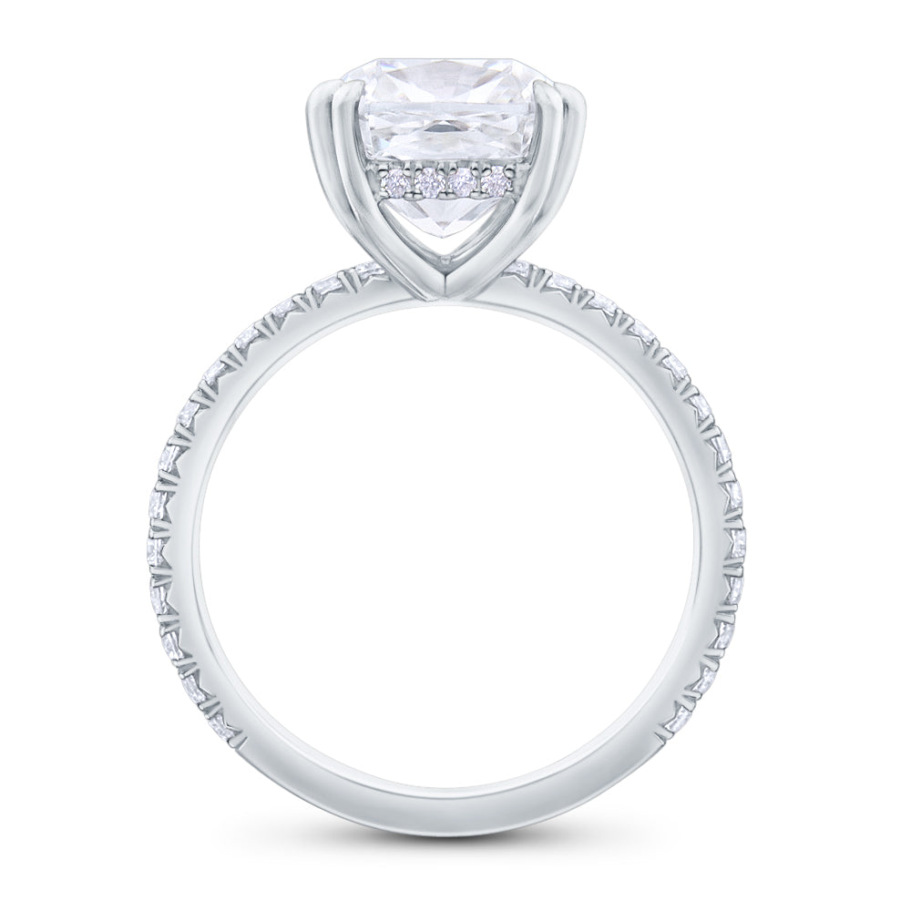 Halo Cushion Brilliant Cut Pave Diamond Engagement Ring