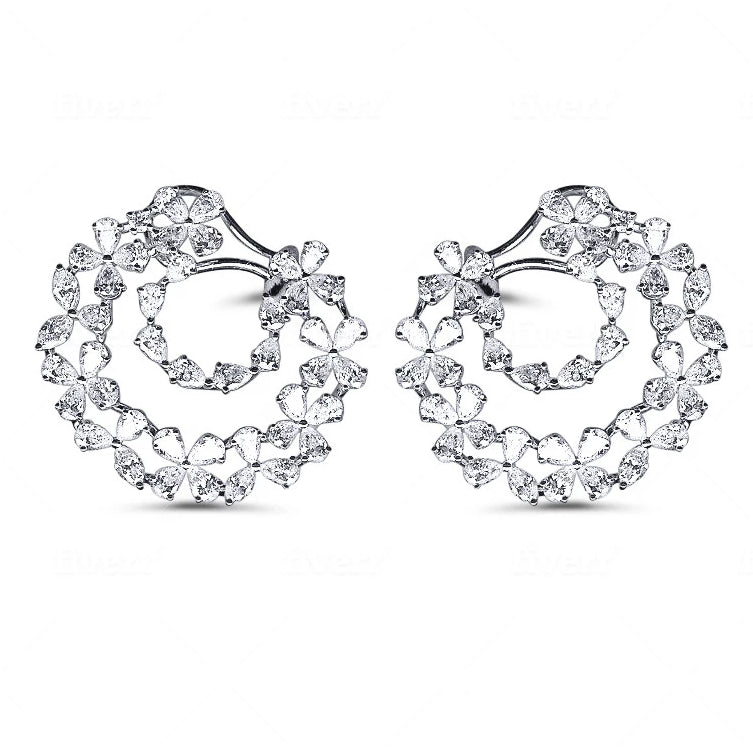 Miss Diamond Ring circle hoop earrings with flower petals