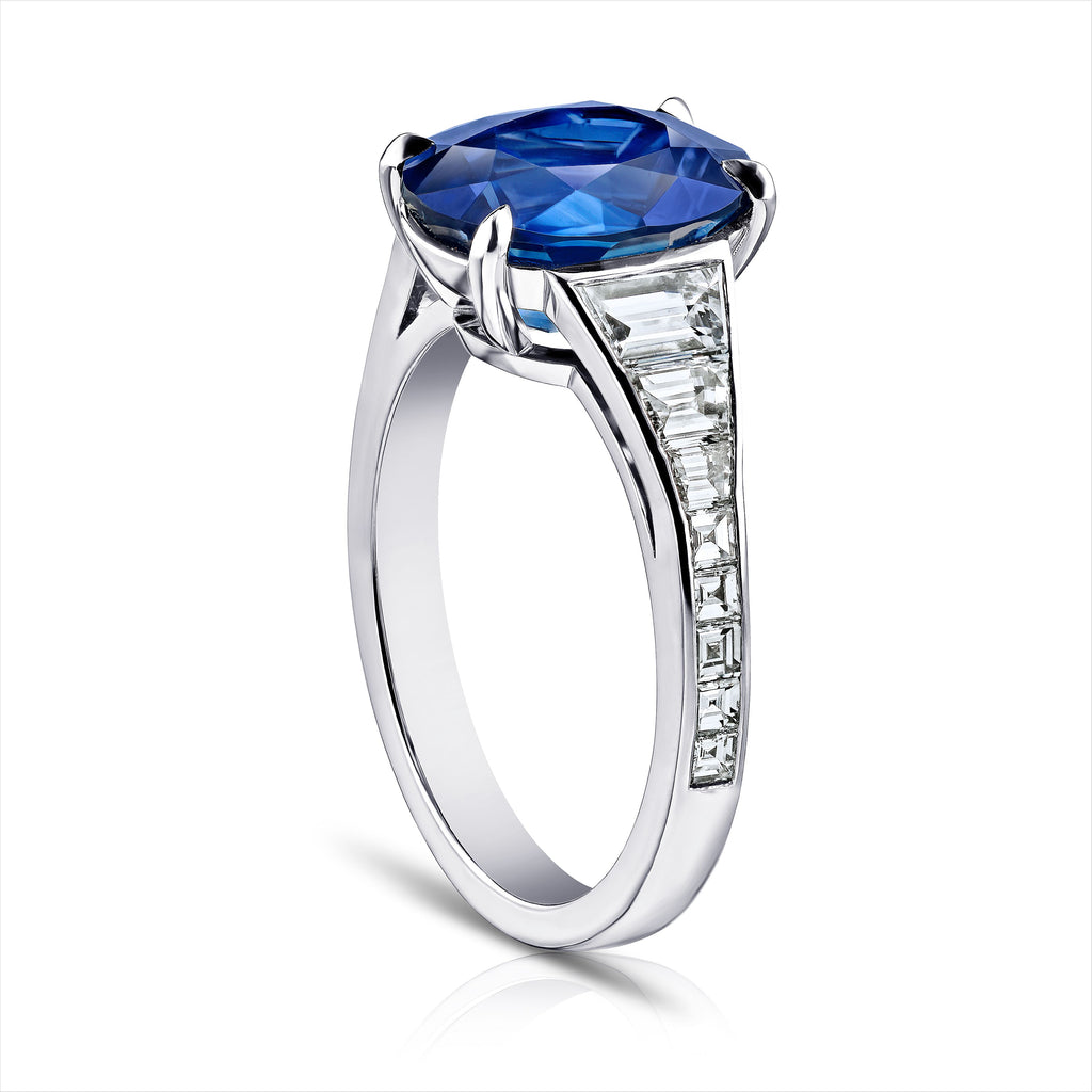 4.9 ct Blue Sapphire Ring with Trapezoid, Carre Diamonds