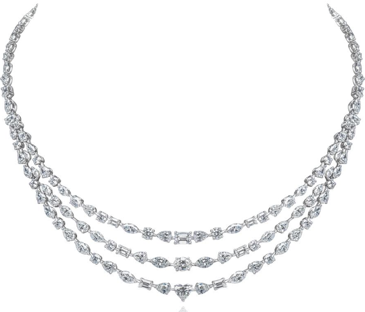 Miss Diamond Ring Multi Mixed Shapes Diamonds Three Strand Necklace