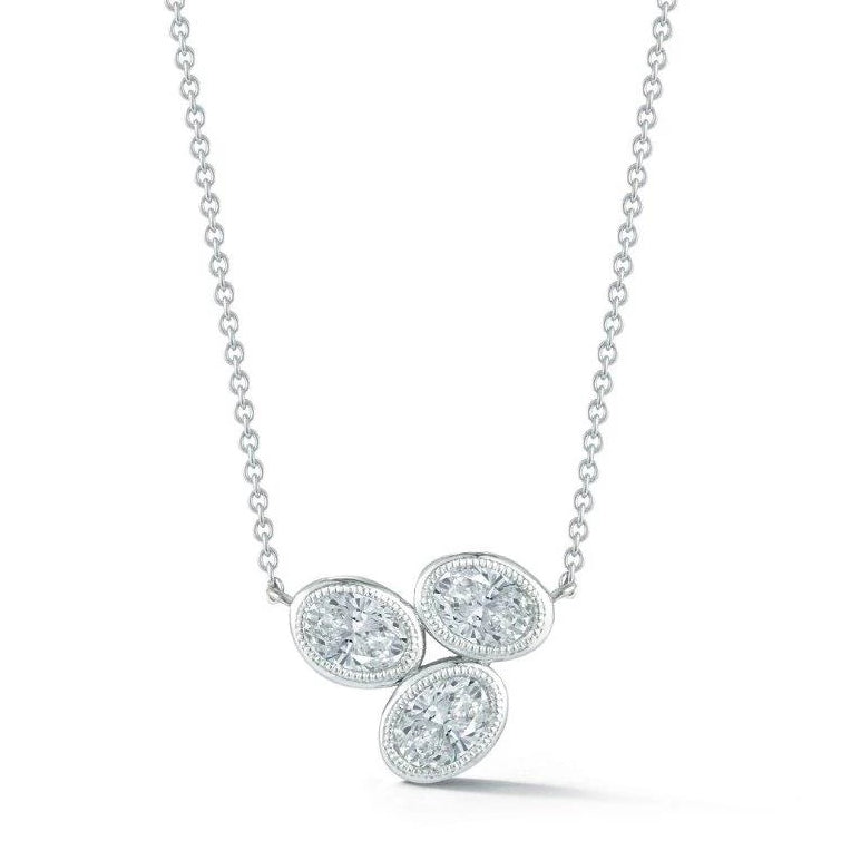 Miss Diamond Ring oval cluster pendant necklace in white gold