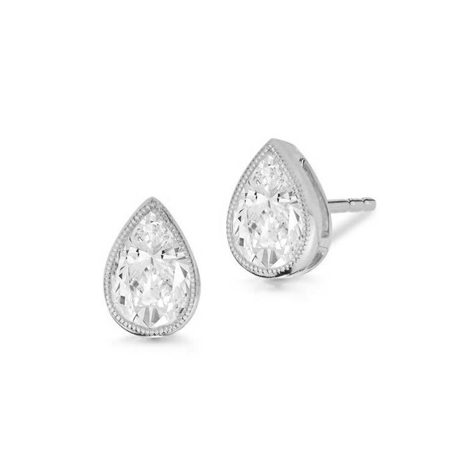 Miss Diamond Ring pear stud earrings with milgrain detail