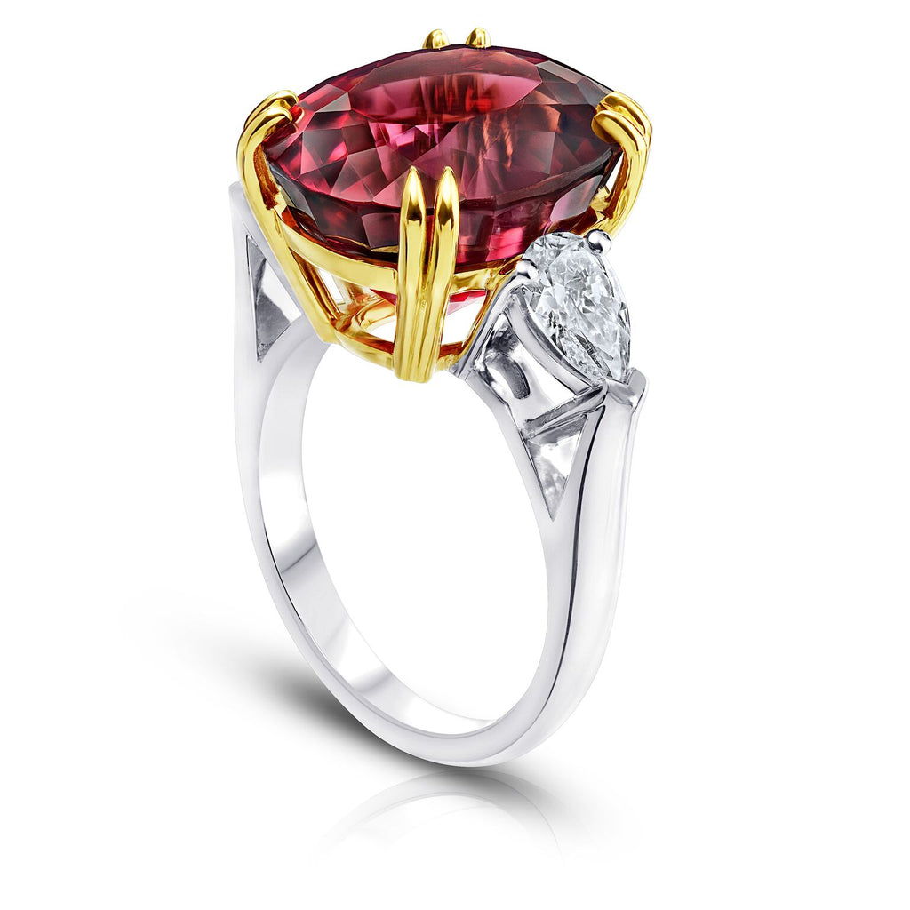 Miss Diamond Ring red Spinel three stone rings