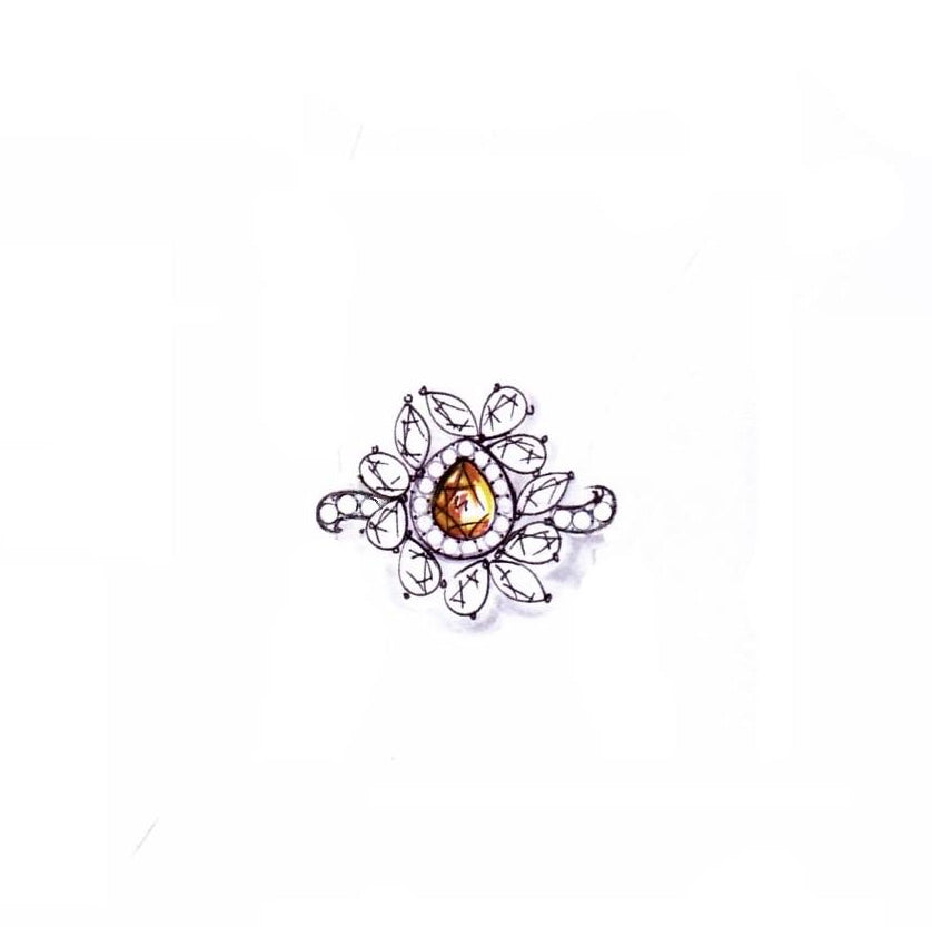 Miss Diamond Ring Flower Fancy Yellow Diamond Jewelry illustration sketch