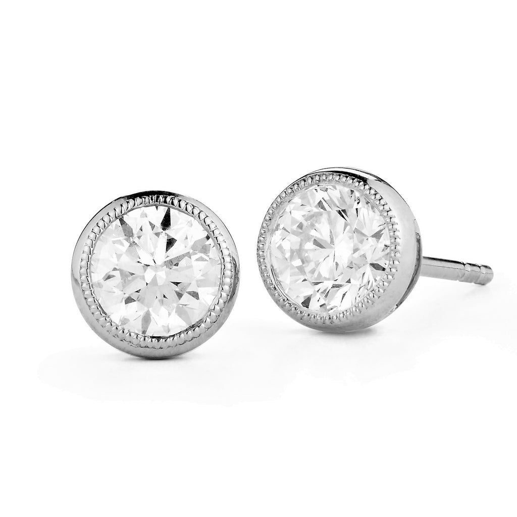 Miss Diamond Ring round brilliant stud earrings
