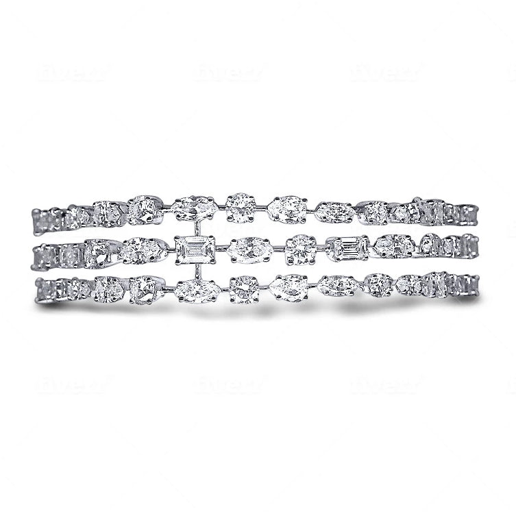 Miss Diamond Ring Elegant Diamond Mixed Multi Shapes Bracelet