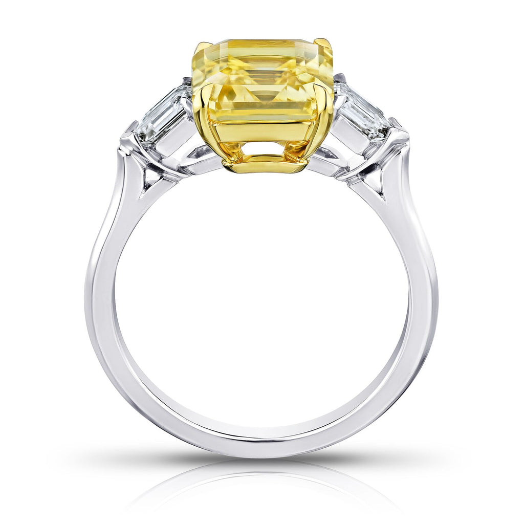 3.8 ct Three Stone Emerald Yellow Sapphire Ring with Bullet Diamonds
