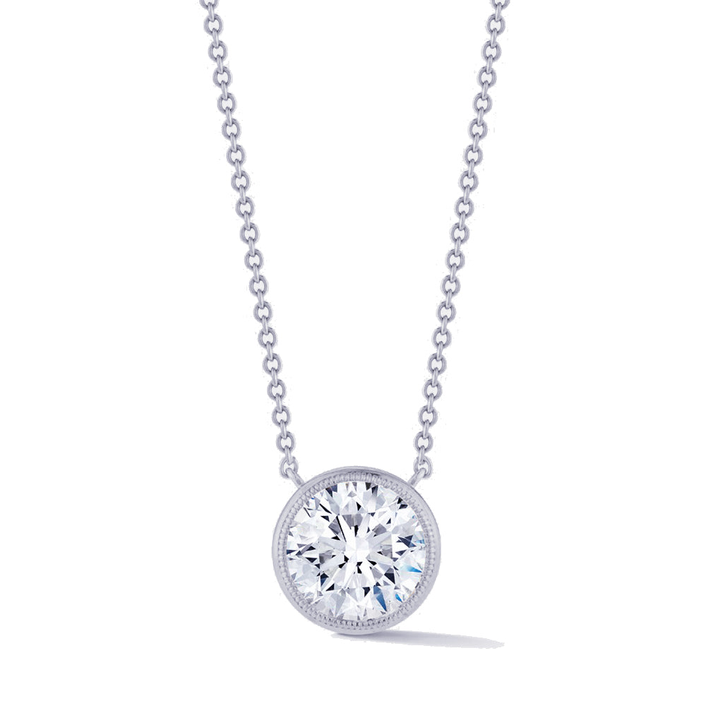 Miss Diamond Ring round pendant necklace with milgrain detail