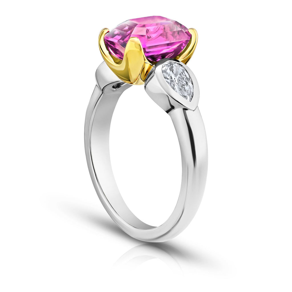 4 ct Three Stone Pink Sapphire Ring with Pear Diamonds