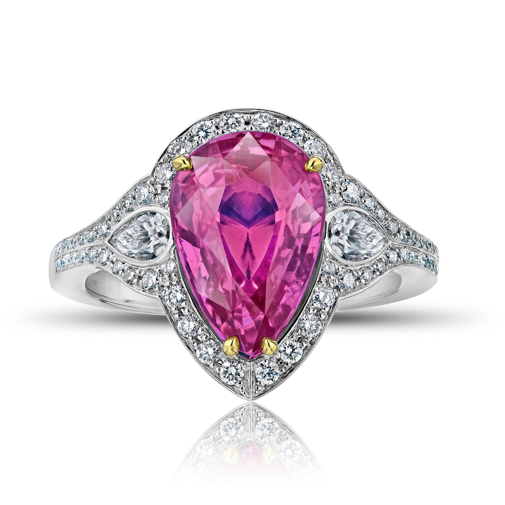 4.97 ct Pear Pink Sapphire Ring with Round Diamonds