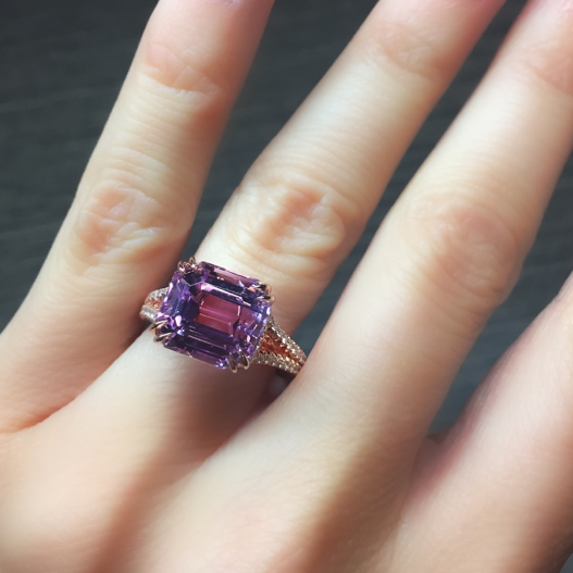 7 ct Kunzite Diamond Ring